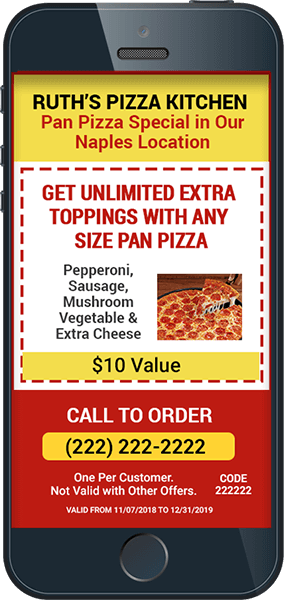 iPhone with Pizza Coupon Created with EzSMS Blaster